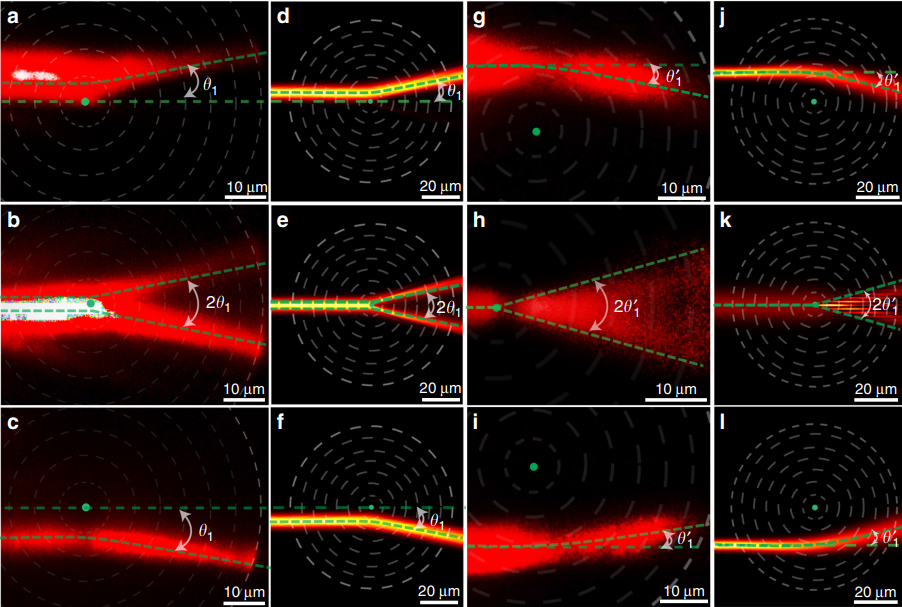 Definite photon deflections of topological defects in metasurfaces and symmetry-breaking phase transitions with material loss